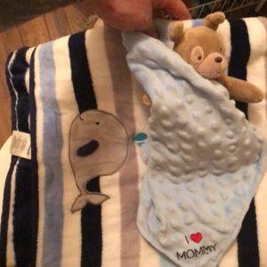Baby blanket and teddy bear